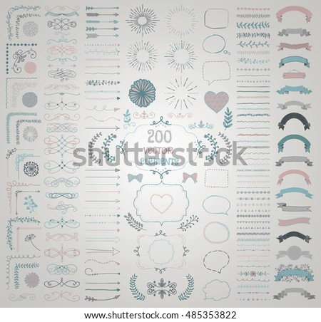 Set of 200 Colorful Hand Drawn Doodle Design Elements. Rustic Decorative Line Borders, Florals, Dividers, Arrows, Swirls, Scrolls, Ribbons, Banners, Frames, Corners, Objects. Vector Illustration