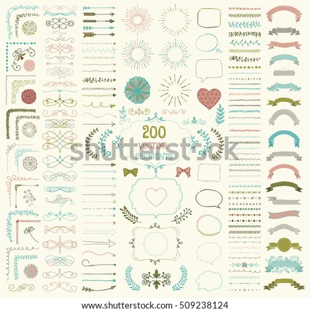 Set Of 200 Colorful Hand Drawn Doodle Design Elements Rustic Decorative Line Borders Florals