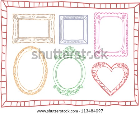Set of colorful hand-drawn doodle frames