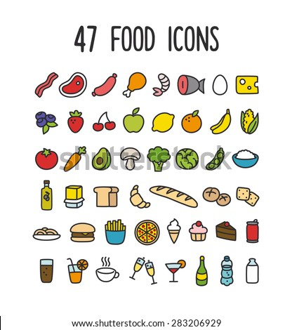 Set of colorful hand drawn doodle style food icons: meat and dairy, fruits and vegetables, processed food and drinks.