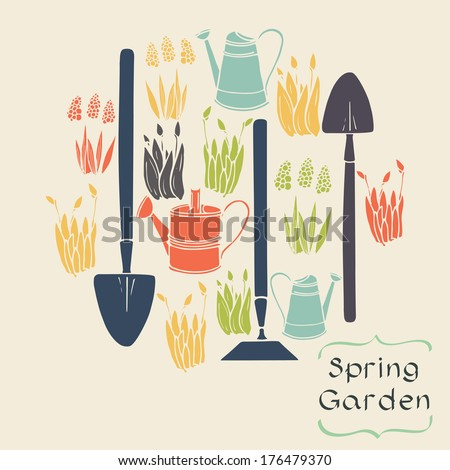 Set of colorful hand drawn spring flowers and garden tools. Flat style symbols.