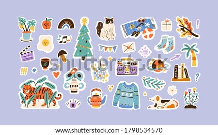 Set of colorful hand drawn stickers vector flat illustration. Collection of different decoration for weekly or daily planner and diaries isolated. Funny signs, symbols, objects and image templates