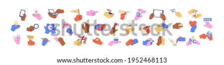 Set of colorful hands holding different objects, business papers, money, devices, credit cards, fingers pointing at screens, and gestures. Colored flat graphic vector illustration isolated on white