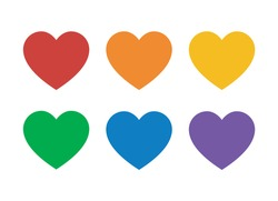 Set of colorful hearts in rainbow colors for pride flat vector icon for