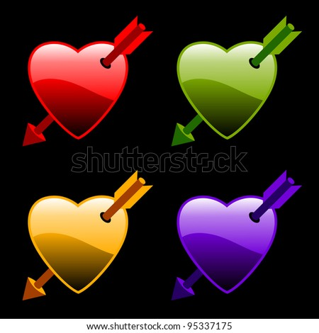 set of colorful hearts with arrows
