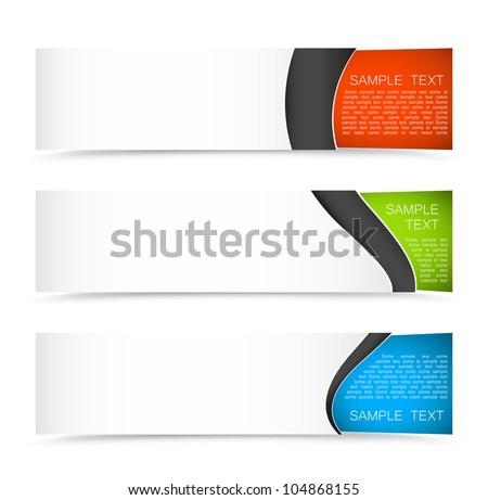 Set of colorful horizontal banners on a light background