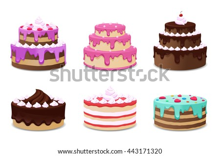Set of colorful icons with cakes, cream. Vector illustration