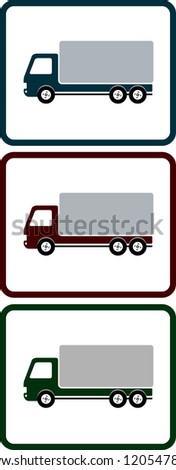 set of colorful icons with shipping truck for transportation