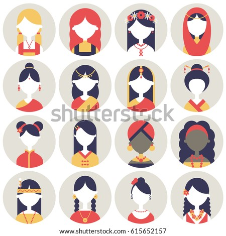 set of colorful illustrations of women of different cultures for icons or profile pictures