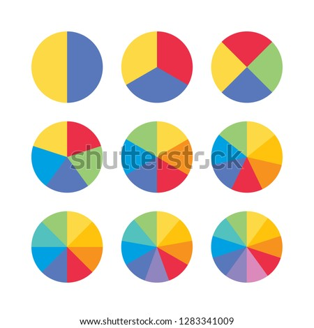 Set of colorful info piecharts, segment of circle element icons collection for 1 2 3 4 5 6 7 8 9 10. Flat design infographics template for app ui ux web button vector isolated on white background