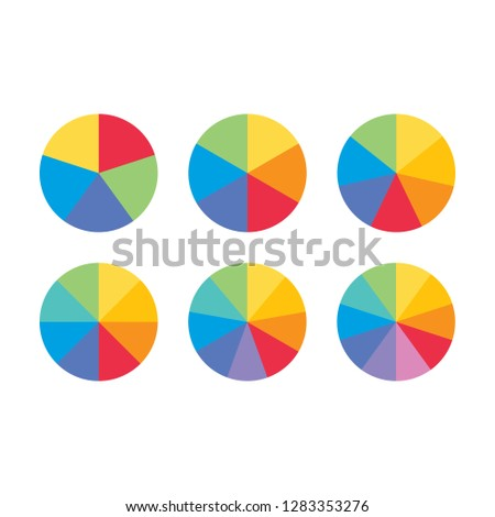 Set of colorful info piecharts / segment of circle element icons for 5, 6, 8, 9, 10. Modern flat design infographics template for app, ui, ux, vector eps10 isolated on black background