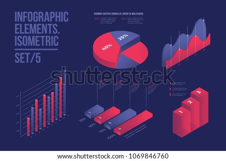 Set of colorful infographic vector elements: presentation graphics, statistics of data and diagrams. 3d isometric design. Perfect for banner, website, presentation and promotional materials.