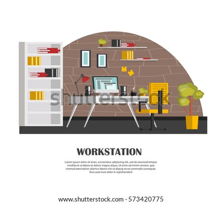 Marvelous Set Of Colorful Interior With Office Furniture. Icons Of Office Furniture  And Workplace: Table