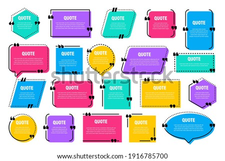 Set of colorful isolated quote frames. Speech bubbles with quotation marks. Blank text box and quotes. Blog post template. Vector illustration.