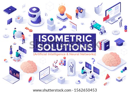 Set of colorful isometric design elements isolated on white background - artificial intelligence and neural networks or connectionist systems, robotics, computer science. Modern vector illustration.