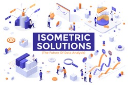 Set of colorful isometric design elements isolated on white background - big data analysis, statistical research, financial information visualization, business analytics. Modern vector illustration.