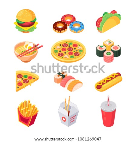 Set of colorful isometric fast food icons: burger, sushi, rolls, ramen, pizza, tacos, donuts, hotdog, soda and french fries. Favorite food. Isolated vector 3d illustration.