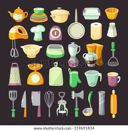 set of colorful kitchen