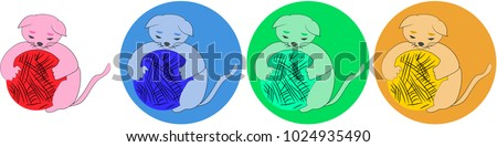 Set of colorful kitten icons with a ball of threads.