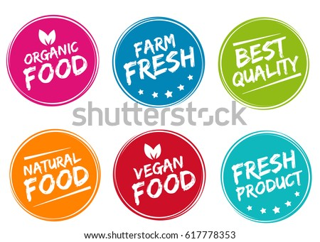 Set of colorful labels and badges for organic, natural, bio and eco friendly products isolated on white background. Eps10.