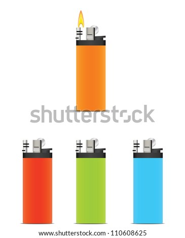 Set of colorful lighters.Vector illustration