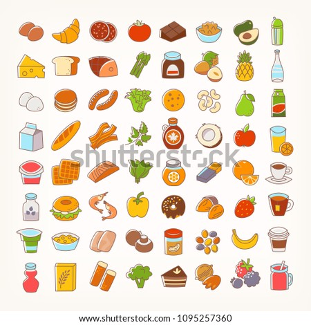 Set of colorful line stroke icons of food groups and goods. Big variety of dairy products, bakery, meat and seafood, fruit and vegetables, desserts and drinks. Vector flat elements for your designs