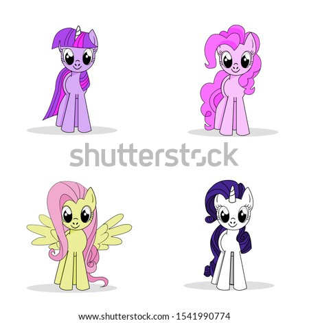 Set of colorful little cute hand drawn cartoon character pony unicorn isolated on white background. My little pony friendship.