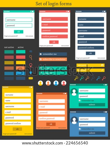 Set of colorful login forms