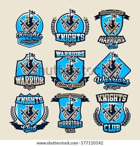 set of colorful logos  emblems