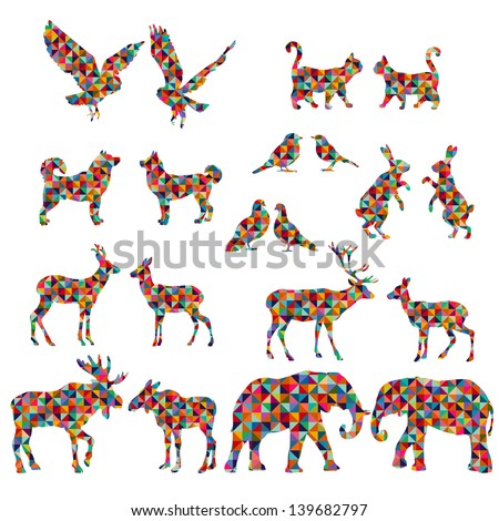 Set of colorful lovely animal lovers couples silhouette: deers, owls, pigeons, elephants, moose, roes, hares, birds, cats, dogs.