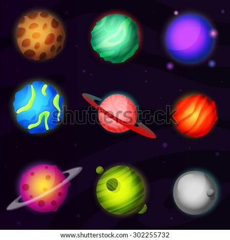 set of 9 colorful luminous
