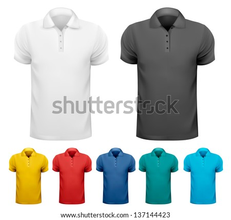 Set of colorful male shirts. Vector.