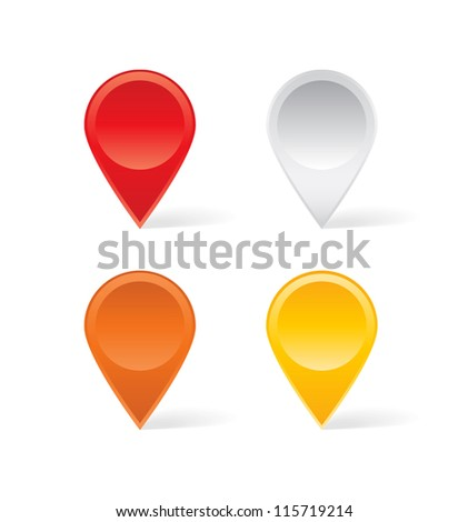 Set of colorful map markers