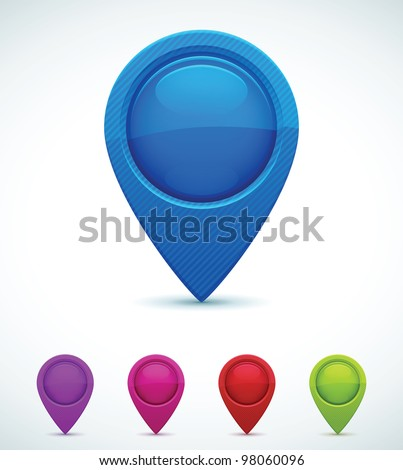 Set of Colorful Map Markers - stock vector