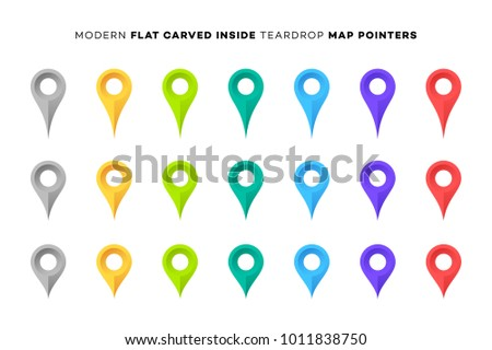 Set of Colorful Map Markers. Collection of Modern Flat Carved Inside Pointers. Vector Design Elements.
