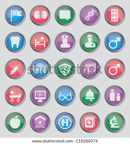 Set of colorful medical buttons for design - part 2 - vector icons