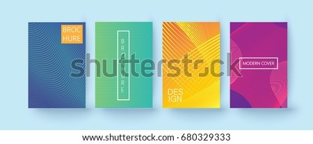 Set of colorful minimal design brochure, book covers. Universal vector background for flyer, poster, card template with modern futuristic  halftone gradient.