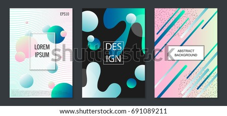 Set of colorful minimal design brochure, book covers.Universal vector background for poster, banners, flyers, card template with modern futuristic halftone gradient