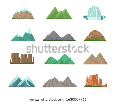 Set of colorful mountain peaks of assorted shapes, some with snow and some green or blue and with glacier isolated on white for vector design elements