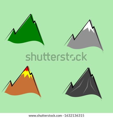 Set of colorful mountain peaks, some with snow and some green and red volcanic and with glacier. isolated on white for vector design elements with line and colour not full. for your pattern elements