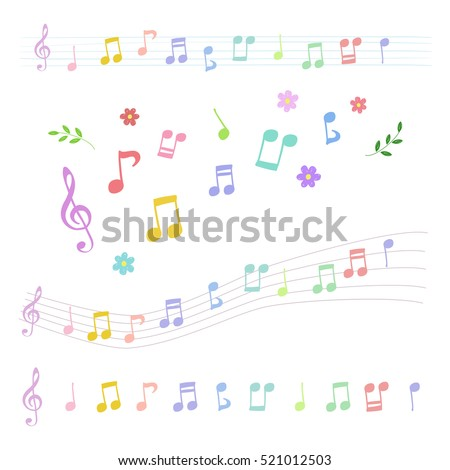 Set of colorful music notes in hand-drawn style / vector eps10 illustration