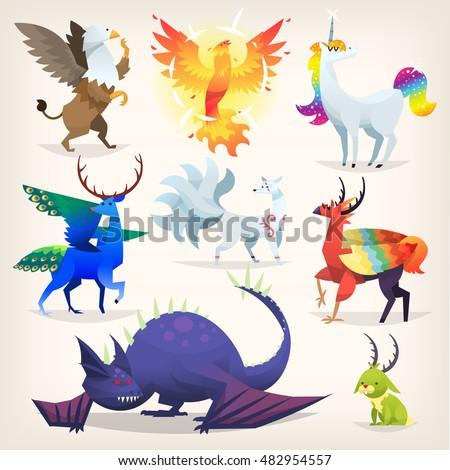 set of colorful mythological
