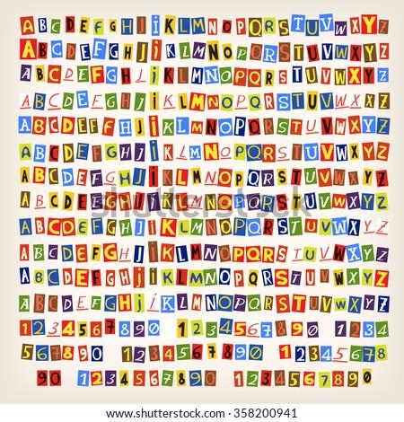 set of colorful newspaper cut
