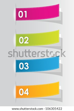 set of colorful numbered stickers for your website - stock vector