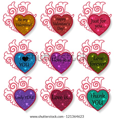 Set of colorful ornament paper hearts for valentine`s day with lights.