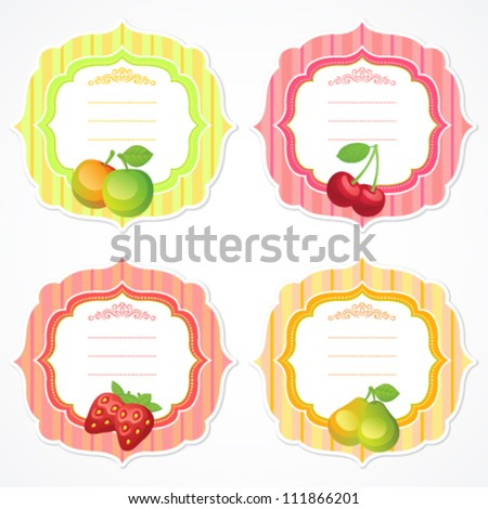 Set of colorful ornate frames with fruit and berry image: apple, cherry, strawberry, pear