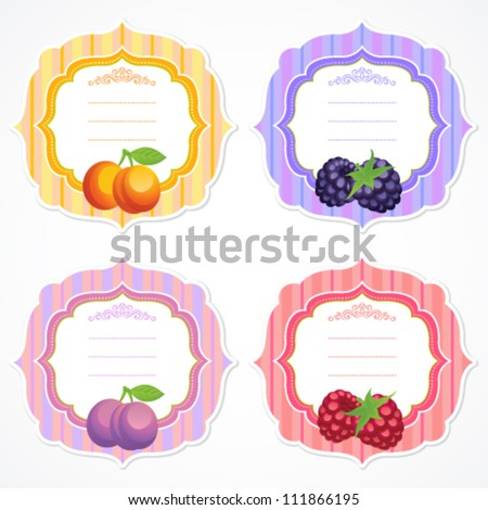 Set of colorful ornate frames with fruit and berry image: apricot, blackberry, plum, raspberry