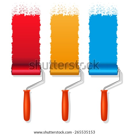 set of colorful paint roller