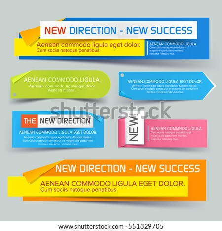 Set of colorful paper banners for business and trade