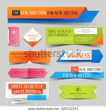 Set of colorful paper business banner.